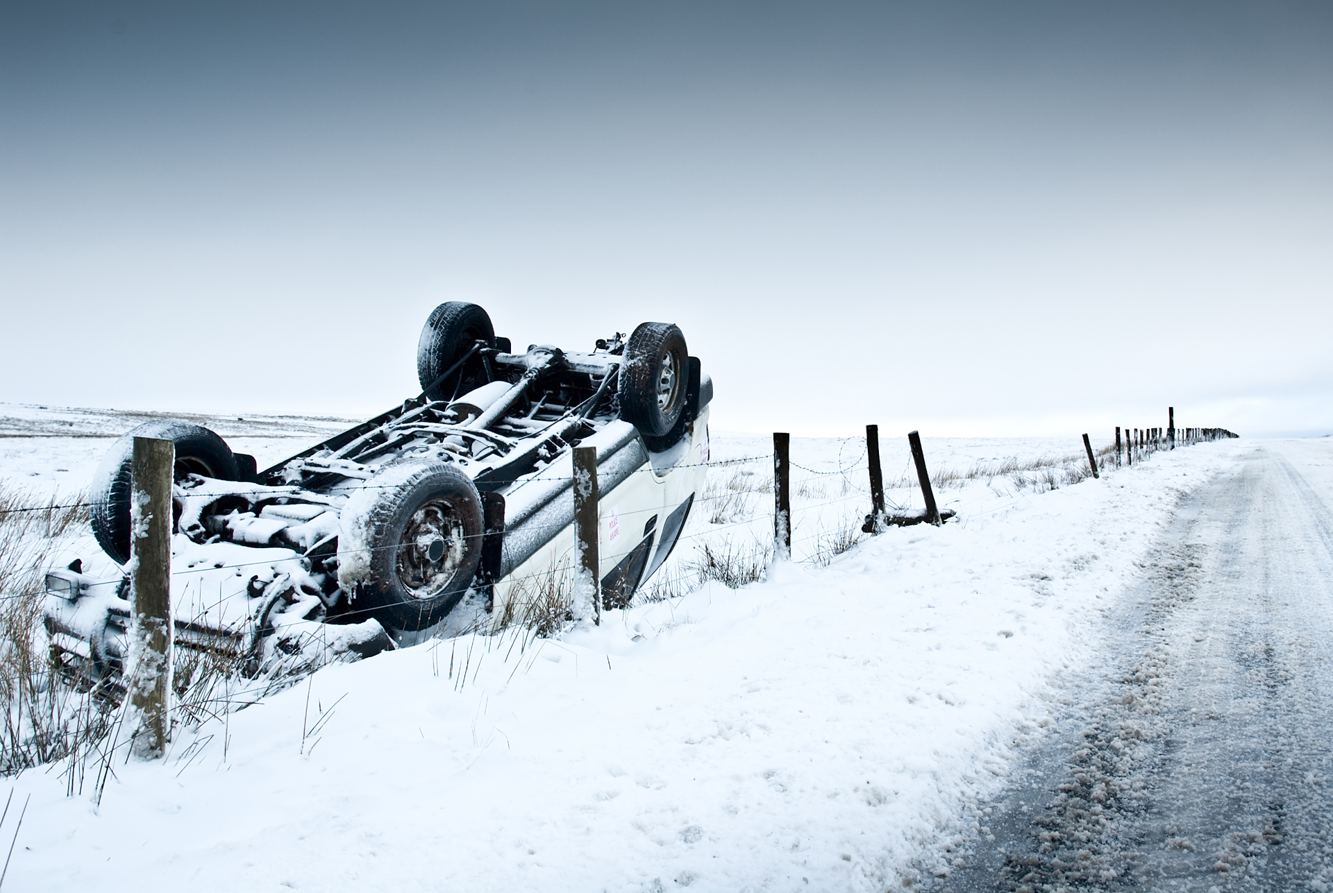 Crashed 4X4 Covered In Snow